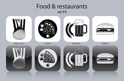 Icons of food and restaurants Stock Photos