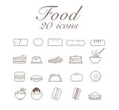 20 icons for food set infographic design. Stock Illustration