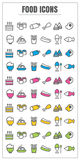 Icons food thin line color black blue pink Yellow green vector S. Icons set food thin line color black blue pink Yellow green vector Symbols signs object design Stock Photography