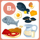 Icons food with vitamin B12. Set with illustrations of food with vitamin B12. Ingredients for health: milk, egg and cheese, fish, liver, beef and chicken, tuna Stock Photos