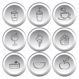 Icons with foods and drinks Stock Image