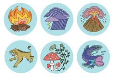Icons with forces of wild nature. Icons with forces of nature, environmental dangers and risks, ecological illustration Royalty Free Stock Images
