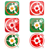 Icons in the form of clock with scrambled eggs, knife and fork. Vector icons in the form of clock with scrambled eggs, knife and fork Stock Photos