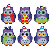 Icons in the form of colorful owls in winter hats Royalty Free Stock Photo