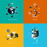 Icons foronline education,research,creative idea and e-learning. Stock Photo