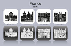 Icons of France. Landmarks of France. Set of monochrome icons. Editable vector illustration Stock Photos