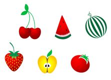 Icons of fresh fruits stock photo