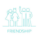 Icons friendship. Friendship linear icons. Girlfriends gossiping, friends fun watching vector illustration