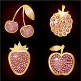 Icons of fruit. Decorated with diamonds Stock Image