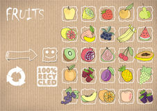 Icons fruit on a cardboard background.vector illustration. 25 primitive icons fruit on a cardboard background, natural product Royalty Free Stock Images