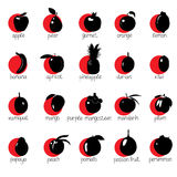 Icons with fruit on red circles with names. Royalty Free Stock Images