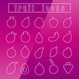Icons fruit Thin Line white eps10 vector Stock Images