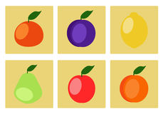 Icons of fruit Royalty Free Stock Photography