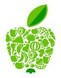 Apple from fruit and vegetables. Icons of fruit and vegetables in the form of an apple Stock Photography