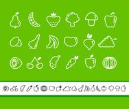 Icons of fruit and vegetables. Outlines of vegetables and fruit. Simple icons Royalty Free Stock Photography
