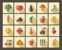 Icons of fruit and vegetables Stock Images