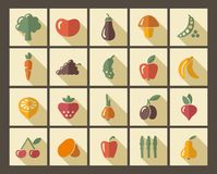 Icons of fruit and vegetables. In style of a retro Royalty Free Stock Photo
