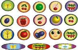 Icons with fruits Royalty Free Stock Photo