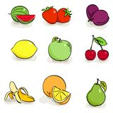 Icons of fruits and berries. Vector set icons of fruits and berries stock illustration