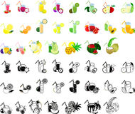 The icons of fruits juice. The icons of various fruits juice stock illustration