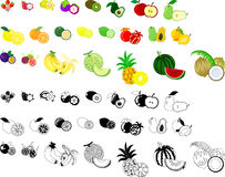 The icons of fruits Stock Image