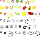 The icons of fruits. The icons of various fruits Royalty Free Stock Photo