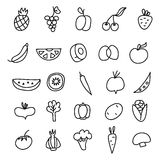 Icons of fruits, vegetables a hand drawn doodle in style. Vector illustration Stock Photography