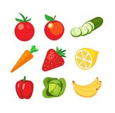 Icons of Fruits and Vegetables. Set of vegetables and fruits in style design. Vector illustration, images isolated on white background Royalty Free Stock Photos