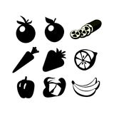 Icons of Fruits and Vegetables. Set of vegetables and fruits in style design. Vector illustration, images isolated on white background Stock Photos