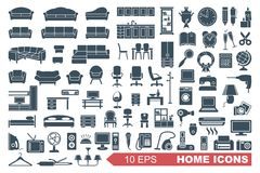 Icons of furniture and household appliances Royalty Free Stock Photos