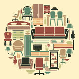Icons of furniture and interiors stock illustration