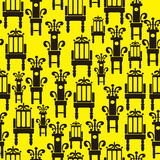 Icons of furniture on seamless pattern Stock Photography