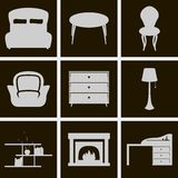 Icons furniture Stock Image