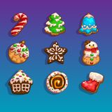 Icons for games on the theme Christmas. Cookies Royalty Free Stock Photo