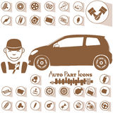 Icons for the garage and car repair Royalty Free Stock Photography