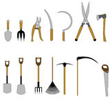 Icons of garden tools. Raster Royalty Free Stock Photos