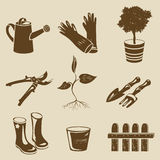 Icons garden tools silhouette Stock Image
