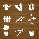 Icons garden tools on a wood background Stock Photo