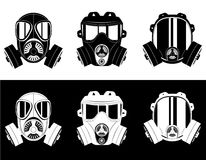 Icons gas mask black and white vector illustration. Isolated on white background Royalty Free Stock Photos