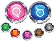 Icons with gender sign, empty button included Stock Photo