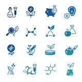 Icons of genetic modification biotechnology and dna research. Set of icons of genetic modification biotechnology and dna research. Vector illustration royalty free illustration