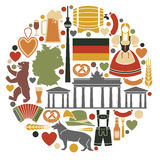 Icons Of Germany in the form of a circle Royalty Free Stock Photos