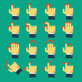 Icons with gestures. Set of icons with gestures for touch screen and multi touch devices. Pointer and hand, laptop and move. Vector illustration flat design Royalty Free Stock Image