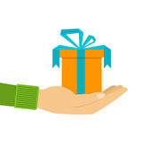 Icons gift box in the palm, a gift in hand Royalty Free Stock Images