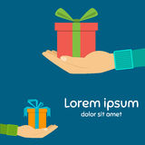 Icons gift box in the palm, a gift in hand Royalty Free Stock Photography