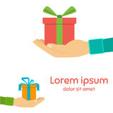 Icons gift box in the palm, a gift in hand Stock Photo