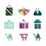 Icons of gift boxes, shopping icons, shopping carts, bags. Royalty Free Stock Photo