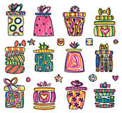 Icons of gifts, pop art style. royalty free illustration