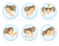Icons with girls. Blue round icon with the girls Royalty Free Stock Photo