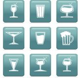 Icons with glass. Icons with scene of the dishes Royalty Free Stock Image